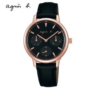 アニエスベー(agnes b.)の未使用☺︎agnes b.  腕時計 SAM ブラック ピンクゴールド(腕時計)