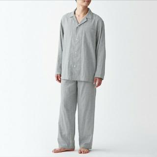 MUJI (無印良品) - 脇に縫い目のない 二重ガーゼパジャマ メンズL