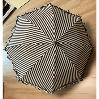 サンバリア100 2段折りたたみ日傘 フリル白黒ストライプ(傘)