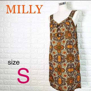 ミリー(Milly)の【美品】MILLY ミリー レディース ノースリーブ ワンピース 絹100% 夏(ひざ丈ワンピース)