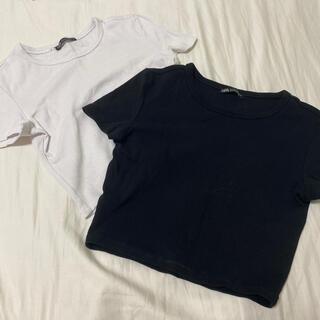 ZARA - zara クロップド丈tシャツ 2色セット