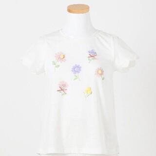 anyFAM - 新品 エニファム ポンポン付きお花半袖Tシャツ 140