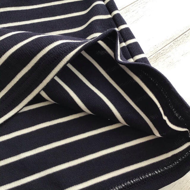 【160】襟 リボン 半袖 ボーダー Tシャツ キッズ/ベビー/マタニティのキッズ服女の子用(90cm~)(Tシャツ/カットソー)の商品写真