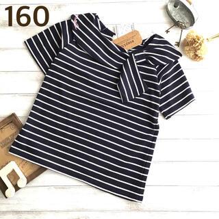 【160】襟 リボン 半袖 ボーダー Tシャツ