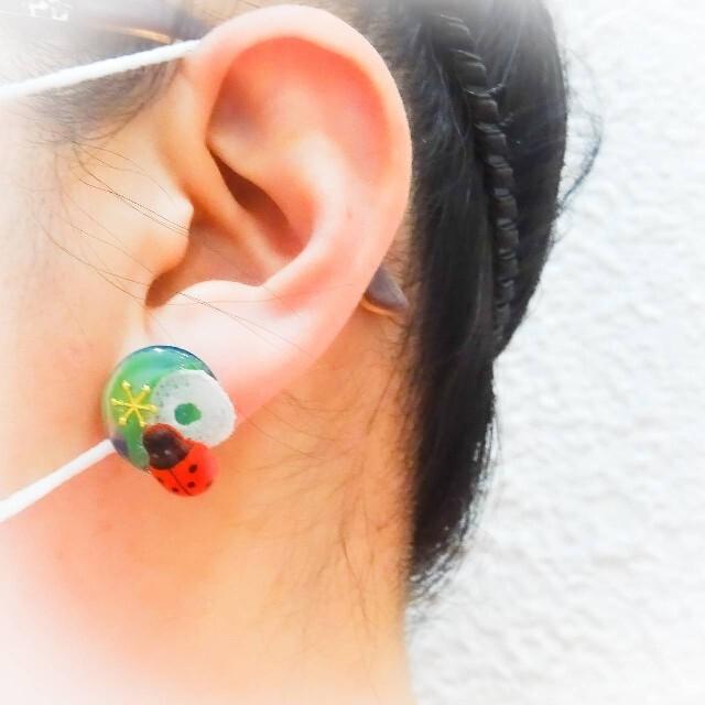 てんとう虫と水彩画の世界 夏色 ピアス  イヤリング 生き物 テントウムシ 天道 ハンドメイドのアクセサリー(ピアス)の商品写真