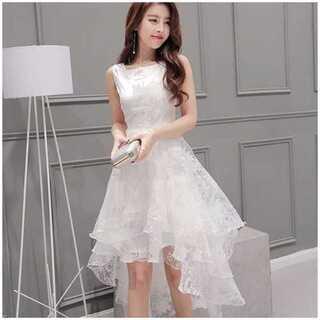 ドレス ホワイト 白 ノースリーブ レディース フレア 結婚式 ワンピース