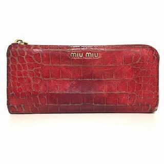 ミュウミュウ(miumiu)のミュウミュウ 長財布 - レッド レザー(財布)