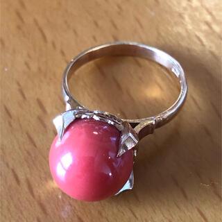 リング 指輪 赤珊瑚 サンゴ k18 ⑦