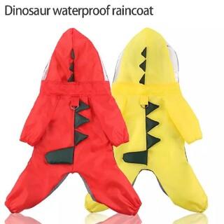 未使用 即日発送 L 犬服 レインコート 赤 黄  ダイナソー 恐竜 雨具 防水