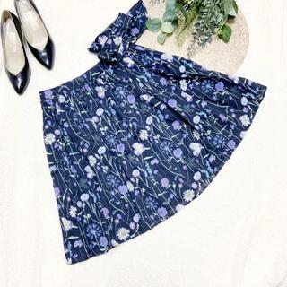バーバリーブルーレーベル(BURBERRY BLUE LABEL)のBLUE LABEL CRESTBRIGE ボタニカル スカート ネイビー 36(ひざ丈スカート)
