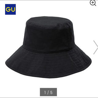 ジーユー(GU)のバケハ バケットハット 黒 ブラック 帽子(ハット)