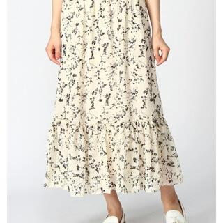STUDIO CLIP - モノトーンの小花柄ロングティアードスカート