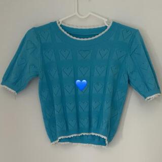 スタイルナンダ(STYLENANDA)の水色 ハート サマーニット(Tシャツ(半袖/袖なし))