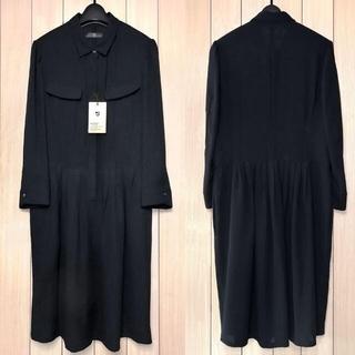 UNIQLO - 半額中★+J新品ジョーゼットシャツドレス Lブラック