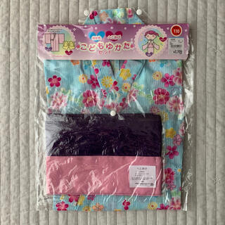 ニシマツヤ(西松屋)の新品 こどもゆかたセット 110 水色 花柄 西松屋(甚平/浴衣)