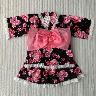 ニシマツヤ(西松屋)の新品 甚平ドレス 130 黒 ピンク フリル スカート 浴衣 上下 西松屋(甚平/浴衣)