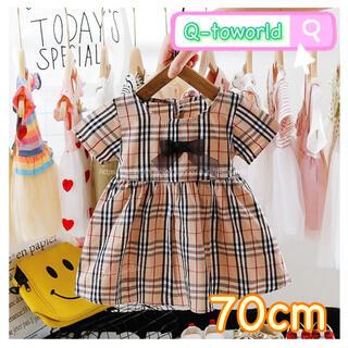 【70】ワンピース チェック柄 タータンチェック リボン 女の子 韓国子供服(ワンピース)