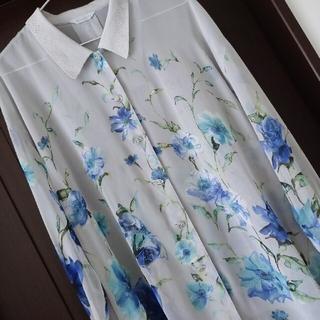 【難あり】☆レディース 花柄 ブラウス 大きめ フリーサイズ