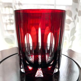 天満切子 赤ロックグラス