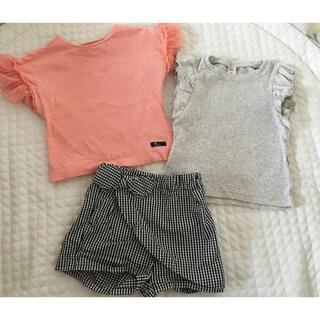 BREEZE - アプレレクール フリル袖Tシャツ 一分丈トップス ショートパンツセット