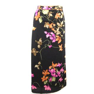 レオナール(LEONARD)のレオナール ロングスカート 花柄 フレア シルク混 黒 ブラック ピンク 73(ひざ丈スカート)