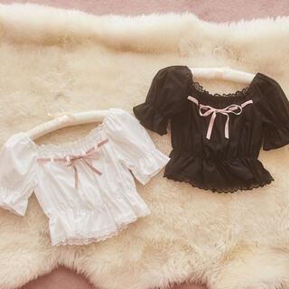 treat ♡ girly ribbon puff tops(white)