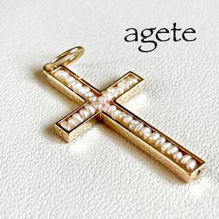 agete - 【アガット】K10YG*ケシパール*クロスチャーム*十字架*ペンダントトップ