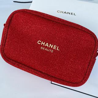 CHANEL - シャネル 2020ホリデー限定 ノベルティ ポーチ レッド 箱付き正規品