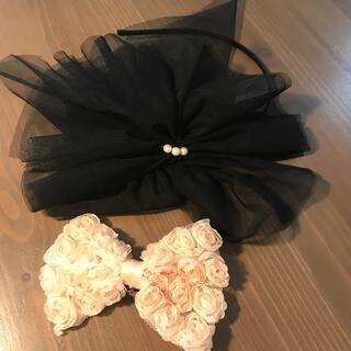 チュール付きカチューシャとリボン型髪飾り(カチューシャ)