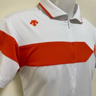 DESCENTE - DESCENTE デサント ストレッチ半袖ジップアップポロシャツ  メンズ S