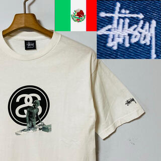 ステューシー(STUSSY)の希少!90's 紺タグ・メキシコ製!STUSSY SSリンク&DJ Tシャツ(Tシャツ/カットソー(半袖/袖なし))