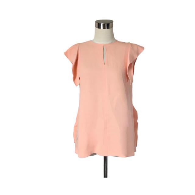Chloe(クロエ)のChloé 流れるようなひらひらフリルスリーブ ブロッサムピンクカットソー レディースのトップス(シャツ/ブラウス(半袖/袖なし))の商品写真