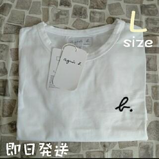 アニエスベー(agnes b.)のアニエスベー 半袖 Tシャツ ホワイト しろ ロゴ刺繍 Lサイズ レディース(Tシャツ(半袖/袖なし))