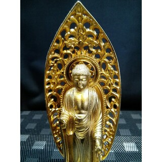 ☆a398、仏像 秀雲 阿弥陀如来像 金メッキ (彫刻/オブジェ)