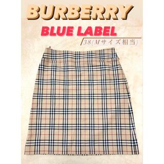 バーバリーブルーレーベル(BURBERRY BLUE LABEL)の【美品】バーバリーブルーレーベル チェック柄スカート  ベージュ(ミニスカート)