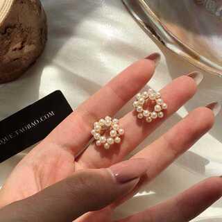 Charles and Keith - #947 import pierce :circle pearl gold