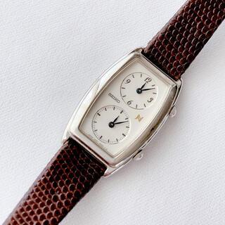 SEIKO - 電池交換済 SEIKO  デュアルタイム レディースクォーツ腕時計 ベルトこげ茶