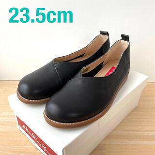レザー フラットシューズ 黒(ローファー/革靴)