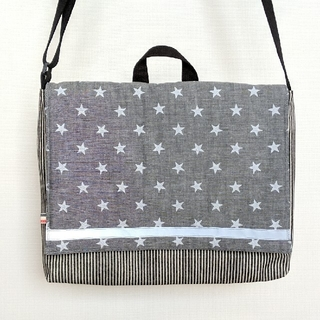 ななめがけできる☆図書袋(ブルー系 星)(バッグ/レッスンバッグ)