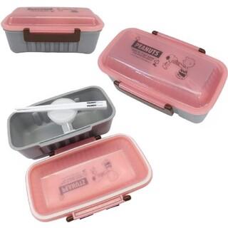 SNOOPY - スヌーピー 1段ランチボックス 箸付き クリアピンク ドーム型フタ弁当箱
