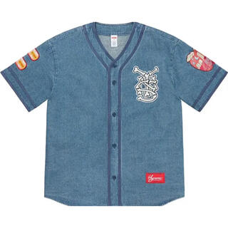 Supreme - Supreme Patches Denim Baseball Jersey
