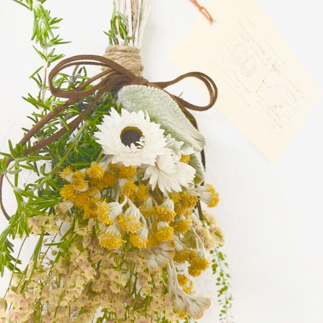 香り立つ無農薬 お日さま黄色 ドライフラワー スワッグ ハンドメイドのフラワー/ガーデン(ドライフラワー)の商品写真