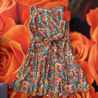 ローズティアラ(Rose Tiara)のローズディアラ Rose Tiara 42 ひざ丈ワンピース 花柄フレアー (ひざ丈ワンピース)