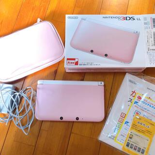 ニンテンドー3DS(ニンテンドー3DS)の任天堂 3DS LL ピンク 箱付き 充電器 ケース付き リセット済み(携帯用ゲーム機本体)