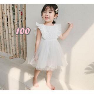 ベビーキッズドレス 韓国こども服 バックリボン レース 刺繍ワンピース 100