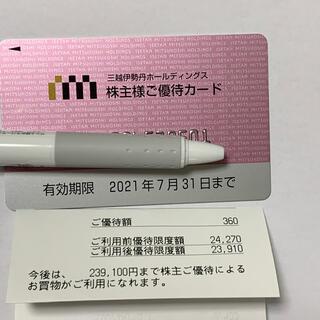 イセタン(伊勢丹)の未使用 三越伊勢丹 株主優待カード(ショッピング)