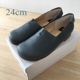 レザー フラットシューズ ブルー(ローファー/革靴)