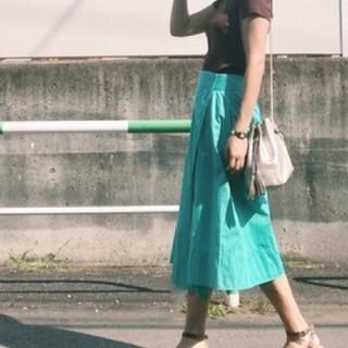 Drawer - ドゥロワー イレギュラーヘム ラップスカート ターコイズ グリーン系36