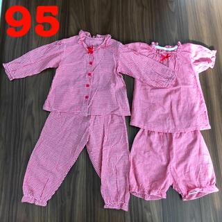 ニシマツヤ(西松屋)のベビー 女の子 薄手パジャマ 赤×チェック柄 半袖&長袖 上下セット 95cm(パジャマ)
