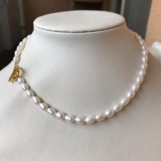 パールネックレス 淡水真珠 本真珠 新品 冠婚葬祭 金色 カジュアル 2way